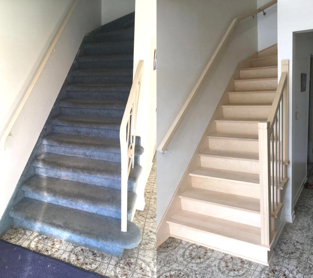 escalier merisier